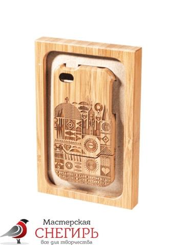 лазерная резка и гравировка по дереву крышки для мобильного телефона