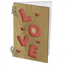 Деревянная открытка Love