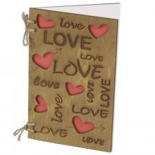 купить Деревянная открытка Love надписи