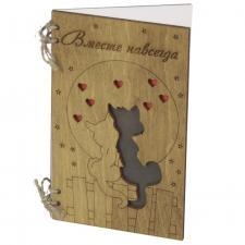 Деревянная открытка с котами про любовь