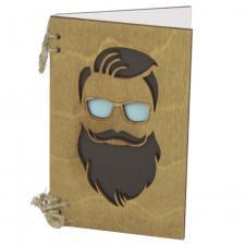 Деревянная открытка мужчина с бородой и в очках