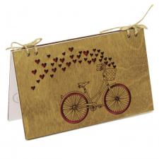 купить Деревянная Открытка Велосипед с сердцами