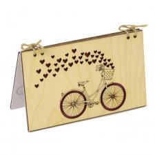 купить Деревянная Открытка Велосипед с сердцами из сосны