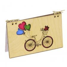 купить Деревянная Открытка Велосипед с шариками