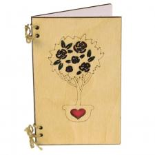 купить Деревянная Открытка Дерево роз из сосны