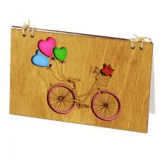 купить Деревянная Открытка Велосипед с шариками орех