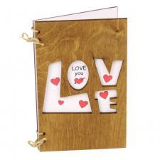 купить Деревянная Открытка Love с белым фоном