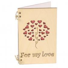 купить Деревянная Открытка For my love сердечки
