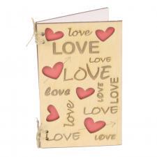 купить Открытка из дерева Love надписи