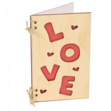 купить Открытка из дерева Love сердца