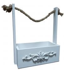 Ящик с веревочной ручкой с аппликацией 3D бол 25*15*33 (белый) ЦФ